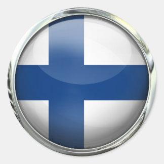 Finland Flag Round Glass Ball Classic Round Sticker