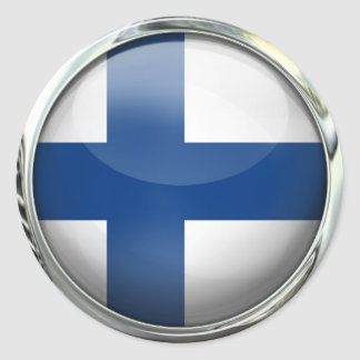 Finland Flag Round Glass Ball Round Sticker
