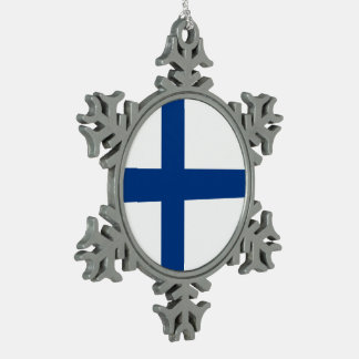 Finland Flag Snowflake Pewter Christmas Ornament