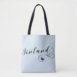 Finland Heart Grocery Bag, Finnish Finn Tote Bag