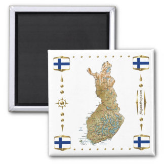 Finland Map + Flags Magnet