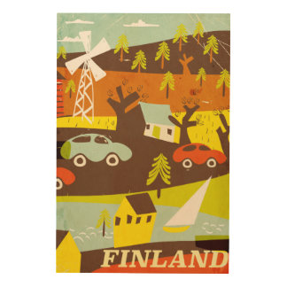 Finland mid century modern travel poster wood canvas
