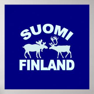 Finland Moose & Reindeer poster