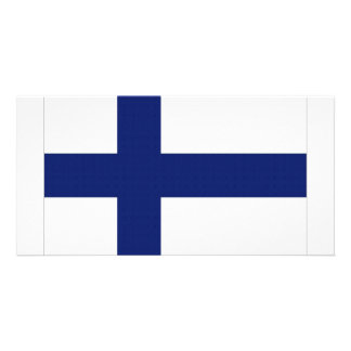 Finland National Flag Personalized Photo Card