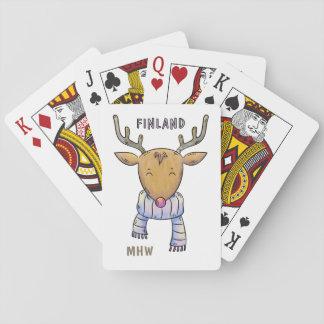 Finland Reindeer custom monogram playing cards