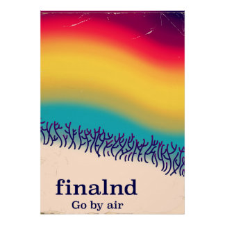 Finland retro vacation 'rainbow' poster print.