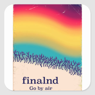 Finland retro vacation 'rainbow' poster print. square sticker