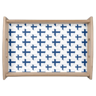 FINLAND SUOMI HEART SHAPE FLAG SERVING TRAY