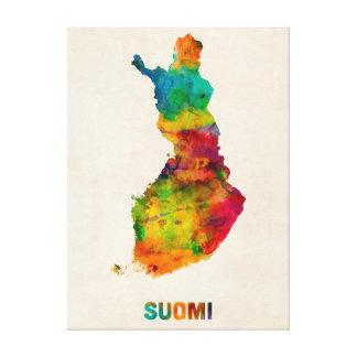 Finland Watercolor Map Suomi Canvas Prints