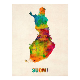 Finland Watercolor Map Suomi Custom Flyer