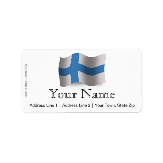 Finland Waving Flag Address Label