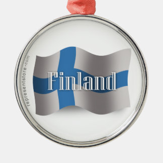 Finland Waving Flag Metal Ornament
