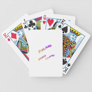Finland world country, colorful text art bicycle playing cards