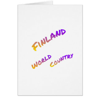 Finland world country, colorful text art card