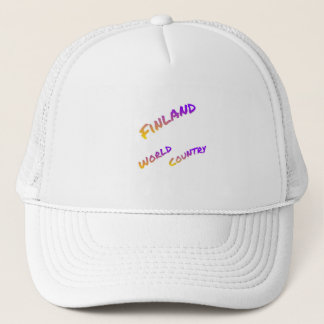 Finland world country, colorful text art trucker hat