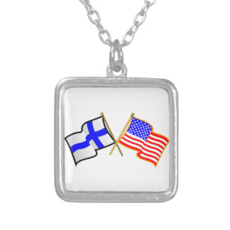 Finnish American Flags Square Pendant Necklace
