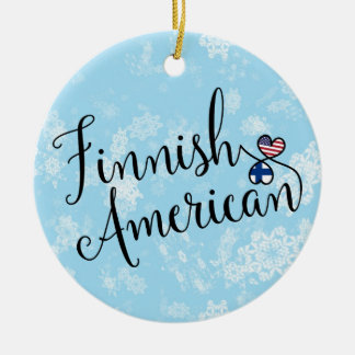 Finnish American Hearts Flags Holiday Decoration