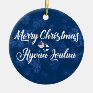 Finnish American Holiday Decoration, Hyvää Joulua Ceramic Ornament