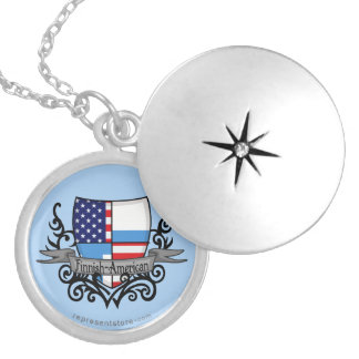 Finnish-American Shield Flag Personalized Necklace
