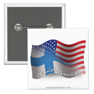 Finnish-American Waving Flag 15 Cm Square Badge