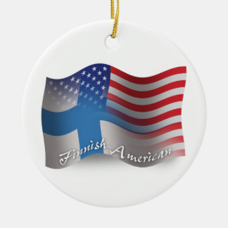 Finnish-American Waving Flag Ceramic Ornament