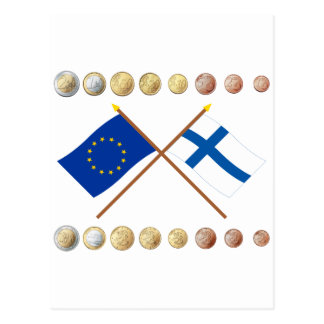 Finnish Euros and EU & Finland Flags Postcard
