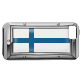 Finnish Flag in a Steel Frame iPhone 5 Cover