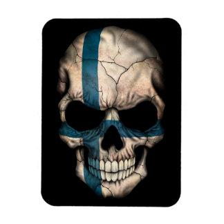 Finnish Flag Skull on Black Magnet