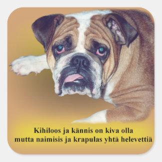 Finnish hangover bulldog square sticker