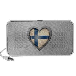 Finnish Heart Flag Stainless Steel Effect Travelling Speaker