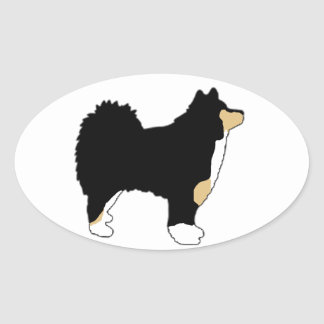 finnish lapphund color silhouette oval sticker