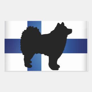 finnish lapphund silhouette flag rectangular sticker