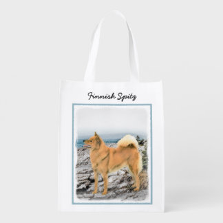 Finnish Spitz at Seashore Painting - Dog Art Reusable Grocery Bag