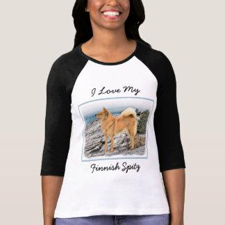 Finnish Spitz at Seashore Painting - Dog Art T-Shirt