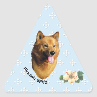 Finnish Spitz Floral on Blue with White Diamonds Triangle Sticker