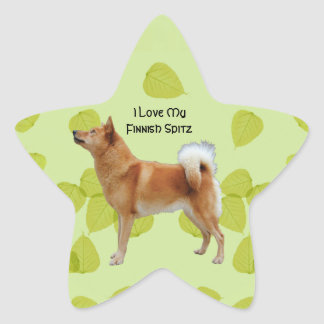 Finnish Spitz on Green Leaves Design Star Sticker