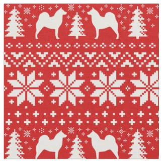 Finnish Spitz Silhouettes Christmas Pattern Red Fabric