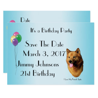 Finnish Spitz turquoise blue with balloons Card