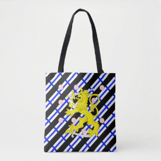Finnish stripes flag tote bag