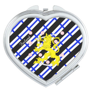 Finnish stripes flag travel mirror