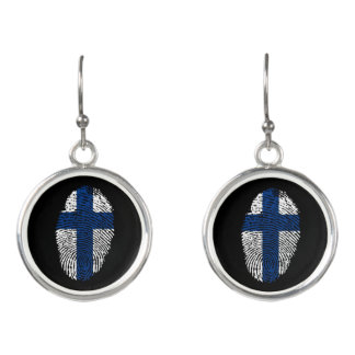 Finnish touch fingerprint flag earrings