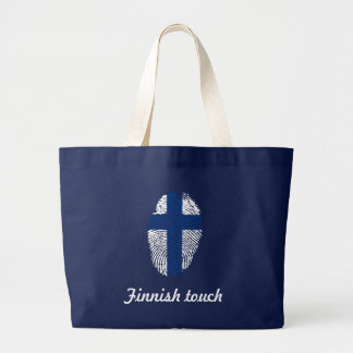 Finnish touch fingerprint flag large tote bag