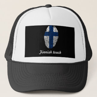 Finnish touch fingerprint flag trucker hat
