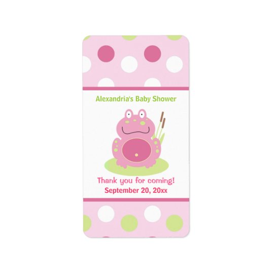 Fiona the Pink Frog Miniature Candy Wrappers Address Label