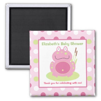 Fiona the Pink Frog Square Favor Magnet