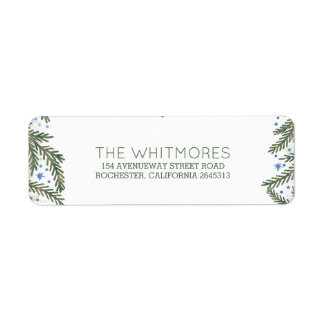 Fir Branches Winter Holiday Return Address Label