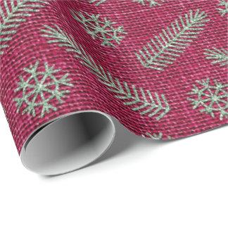 Fir Snowflakes Mint Green Bordeaux Cottage Linen Wrapping Paper