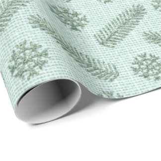 Fir Snowflakes Mint Green White Cottage Linen Lux Wrapping Paper