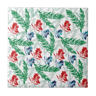 Fir Tree Branches with Berries Ceramic Tile