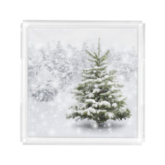 Fir Tree In Thick Snow Acrylic Tray